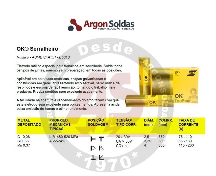 ELETRODO 6013 2,5 MM OK SERRALHEIRO ESAB 5KG