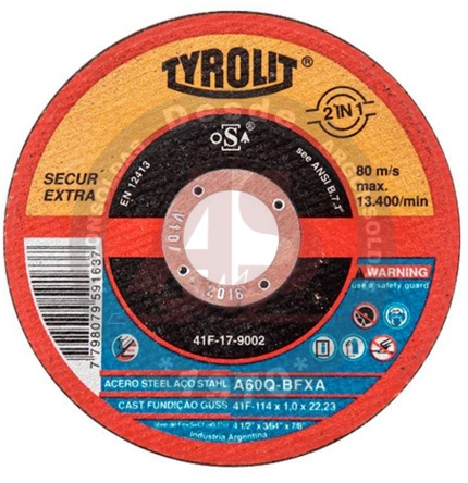 DISCO CORTE 41F 115X1X22,2 A60Q-BFXA SECUR COD 677988 TYROLIT PREMIUM